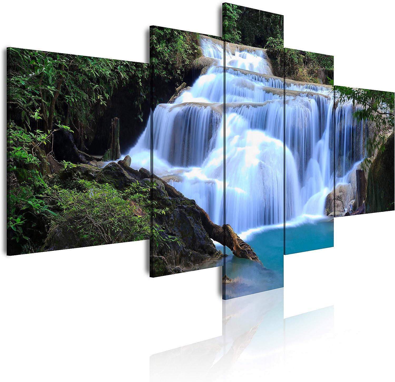 DekoArte Cuadros Modernos Impresión de Imagen Artística Digitalizada, Lienzo Decorativo para Tu Salón o Dormitorio, Estilo Paisaje Árboles, Catarata y Naturaleza XXL, 5 piezas (180x85cm)
