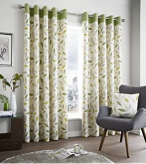 Green Curtains beige and green curtains : One pair of 'Woodland Trees' Eyelet Curtains in Green, Size: 90 x ...