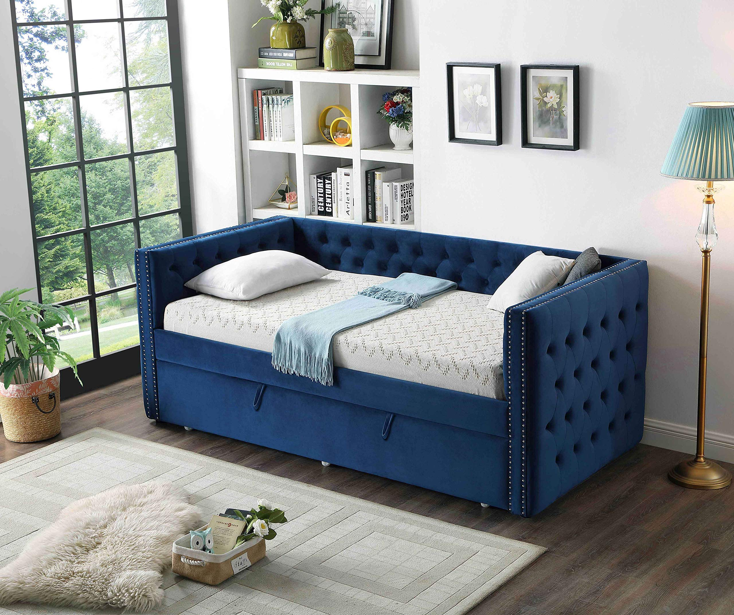 Best Quality Furniture K38-B Twin Daybed Only Navy Blue by Best Quality