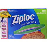 Ziploc Sandwich Bags, Easy Open Tabs, 180 Count