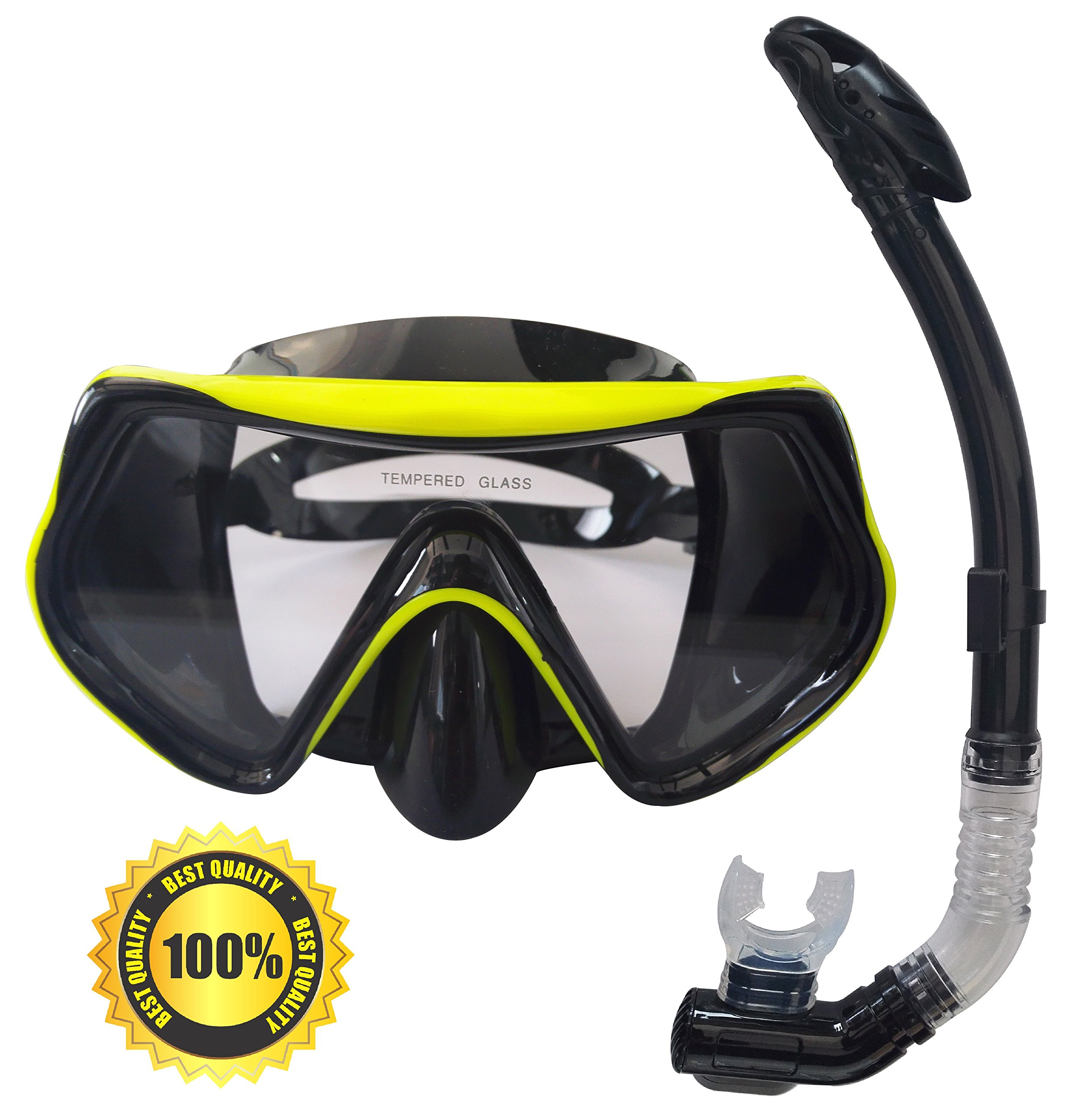 Rising Goods Mask and Snorkel Set for Adults - Anti-Fog Glass, Purge Valve, Snorkeling Splash Cap by Rising Goods