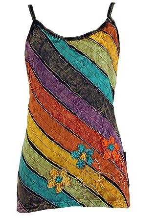 Guru-Shop Stonewash -Goa-Top 12, Damen, Mehrfarbig, Baumwolle,