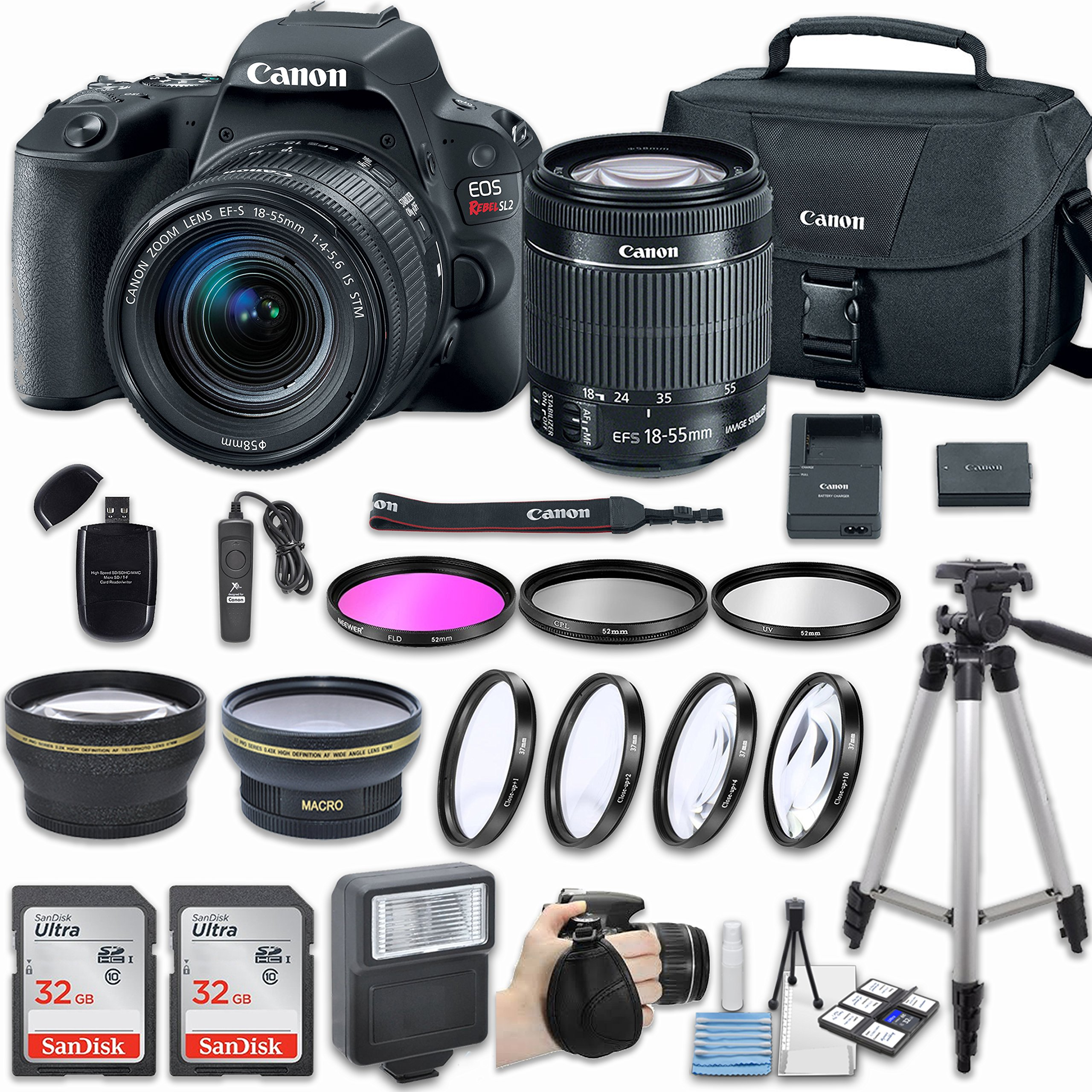 Canon EOS Rebel SL2 DSLR Camera with EF-S 18-55mm f/4-5.6 IS STM Lens & Includes 58mm HD Wide Angle Lens + 2.2x Telephoto + 2Pcs 32GB Sandisk SD Memory + Filter & Macro Kit + More Accessories