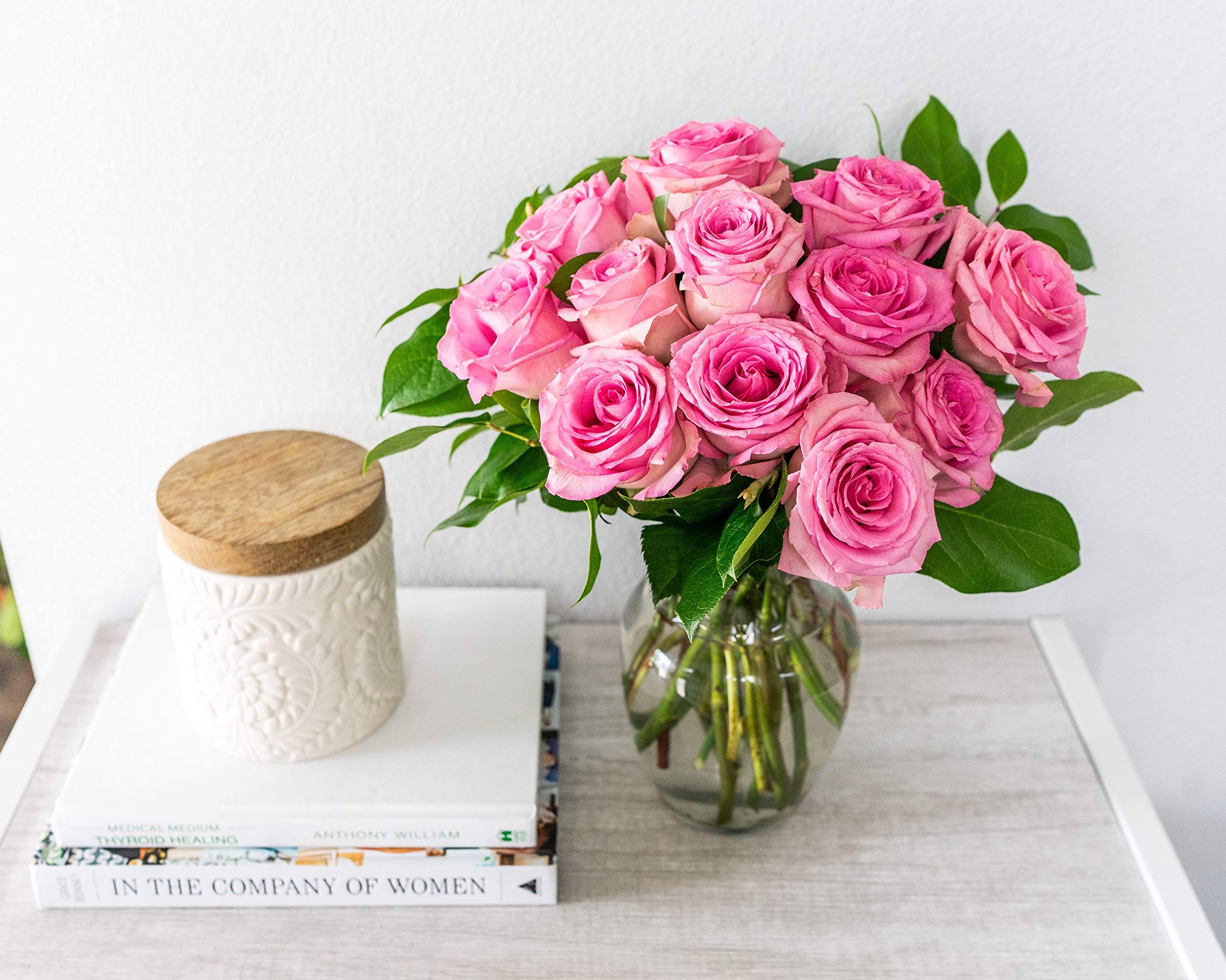 Flowers - One Dozen Light Pink Roses (Free Vase Included) by From You Flowers (Image #1)