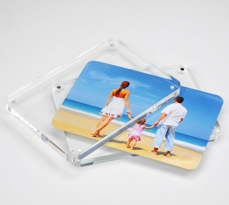 NIUBEE Acrílico Transparente Marco de Fotos 15x20cm , Marcos de Escritorio con Magnético Y Marco de Fotos Doble Cara(12+12 mm de espesor): Amazon.es: Hogar