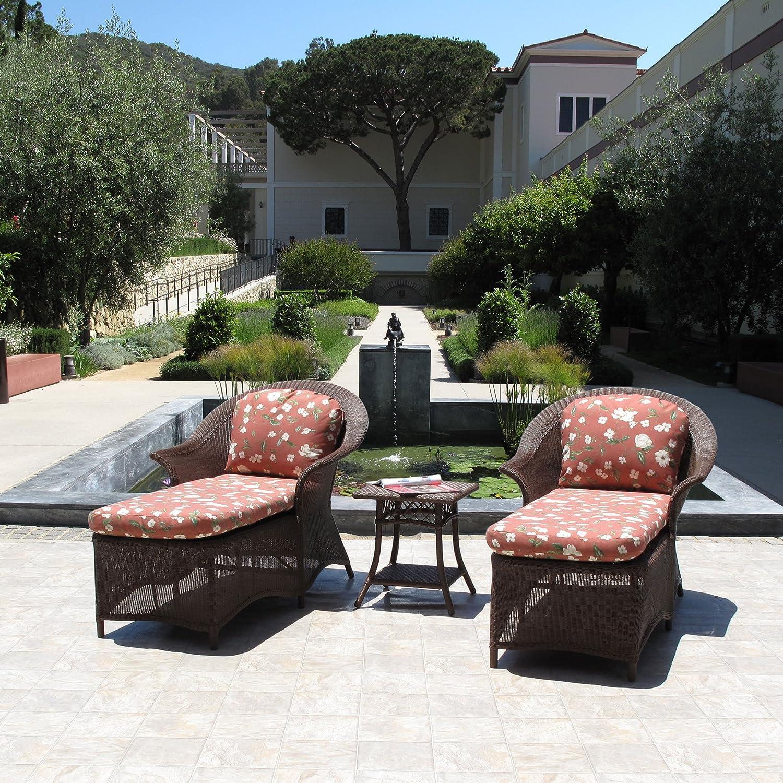 Amazon com premium assembled outdoor patio resin wicker chaise lounge 3pc furniture set garden outdoor