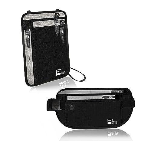 Cinturón para guardar dinero con protección RFID + Cartera para Cuello