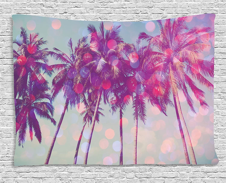 Ambesonne Nature Tapestry, Palm Trees Hawaiian Tropic Seashore Beach Californian Miami Sunbeams Image, Wide Wall Hanging for Bedroom Living Room Dorm, 60