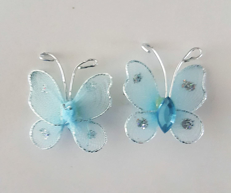 Lila Amarillo y Azul Blanco 40 x Mariposas de Malla con Cable para Pegar o Coser Rosa