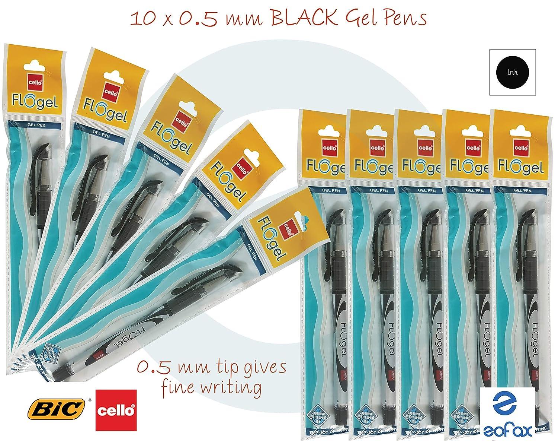 10 x BIC CELLO Gripper 0.5mm BLUE Ballpoint Pens Elasto Grip Smooth Writing