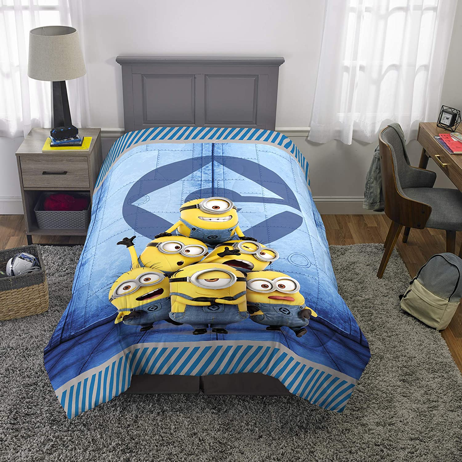 "Franco Kids Bedding Super Soft Reversible Comforter, Twin/Full Size 72"" x 86"", Minions"