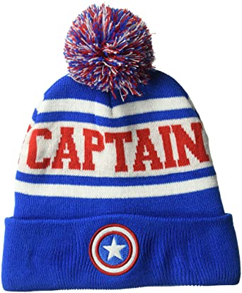 8214dc69161 Captain America Winter Cuff Pom Beanie  Amazon.co.uk  Clothing
