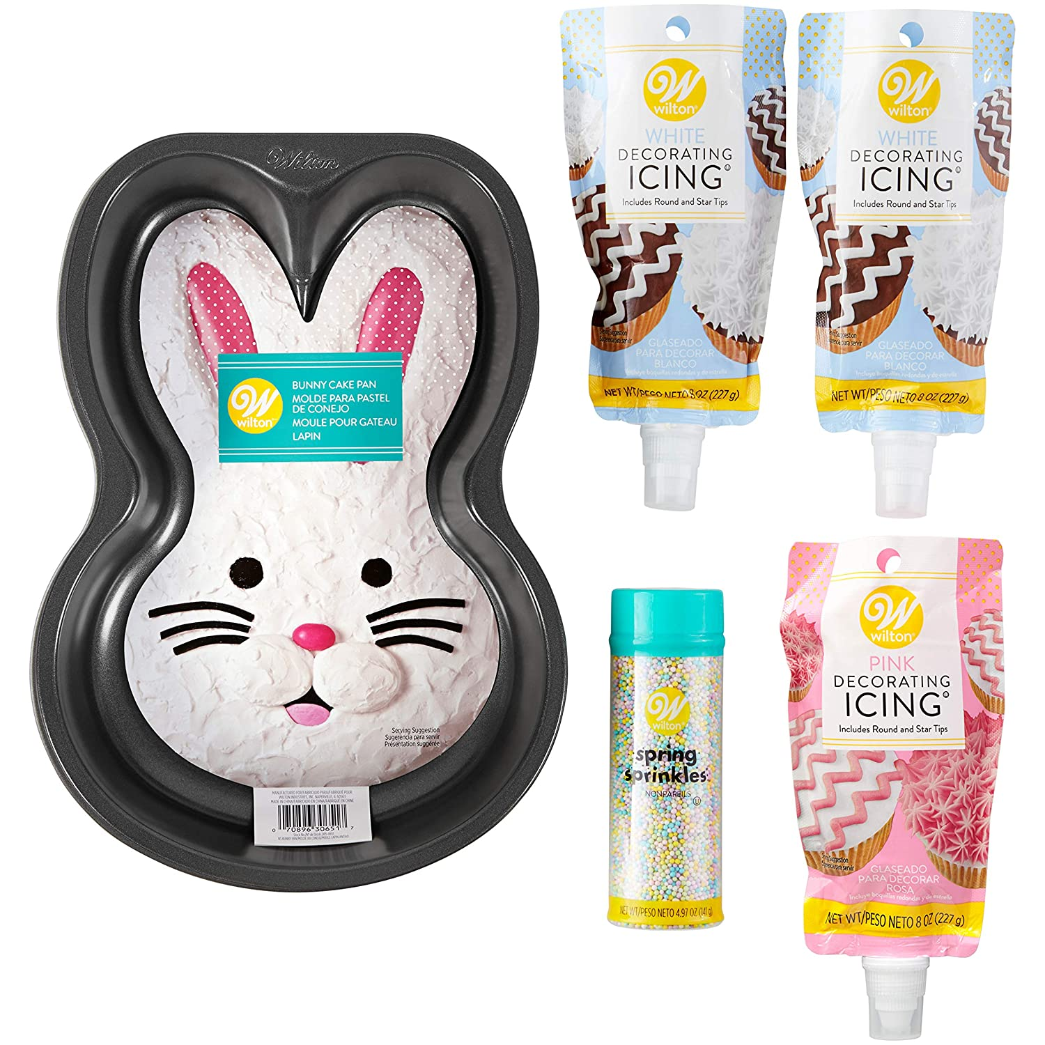 Amazon.com: Wilton Easter Bunny Cake Baking and Decorating Set, 5-Piece: Kitchen & Dining