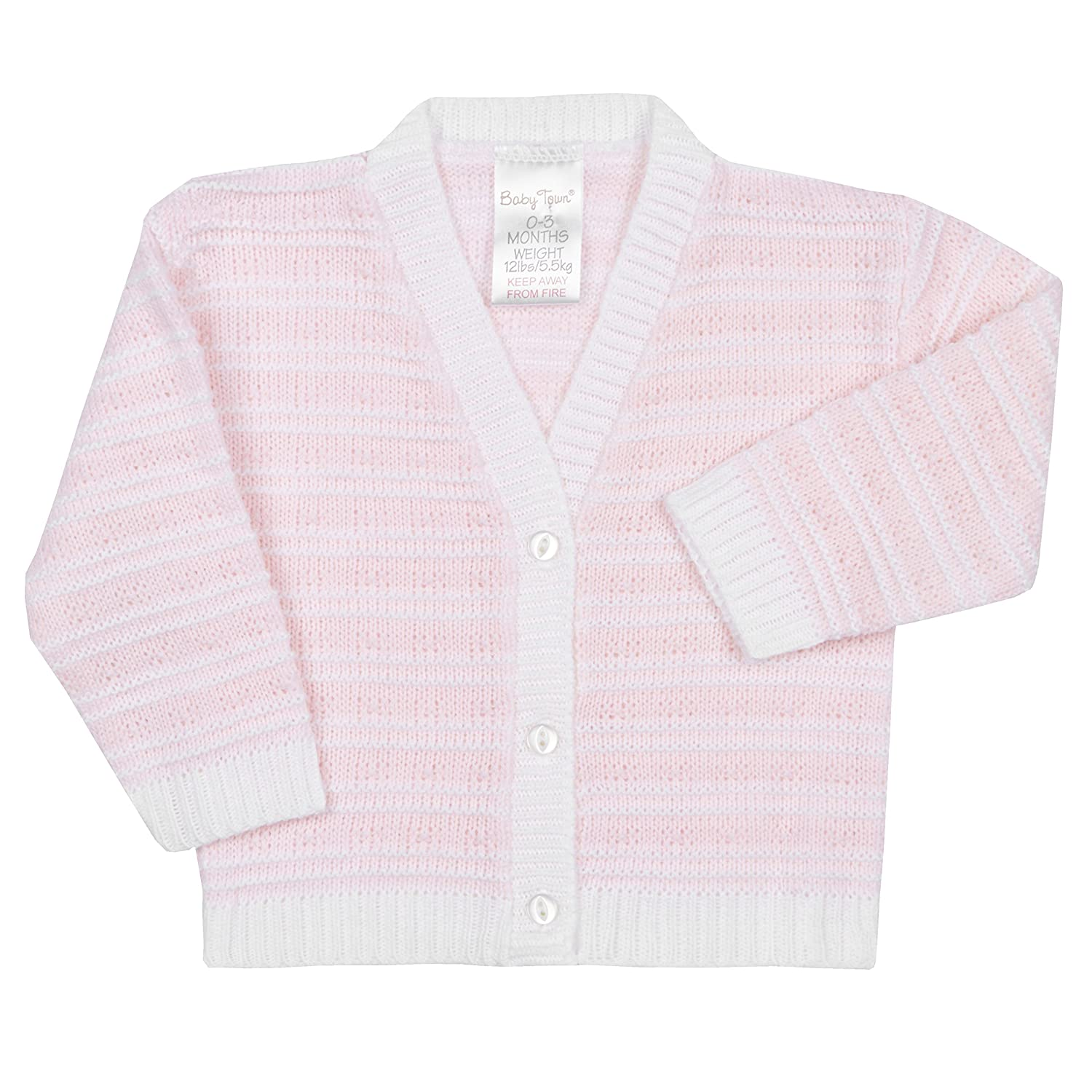BABY TOWN Babies Baby Girls Boys Knitted Stripe Pastel Cardigan Button up NB-3 M BabyTown