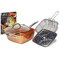 Rame Interno Antiaderente Sided Square Chef Kit, Rame, 24,1cm, Grande, Pezzi