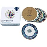 100 RAINBOWS Premium Absorbent Ceramic Coasters (Flora/Bohemian Design) - Set of 6 with Anti Scratch Cork Backing