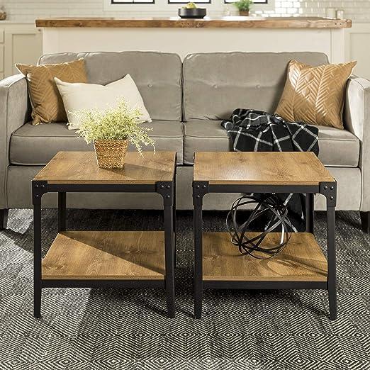WE Furniture - Mesa Auxiliar rústica, Acero con Revestimiento de ...