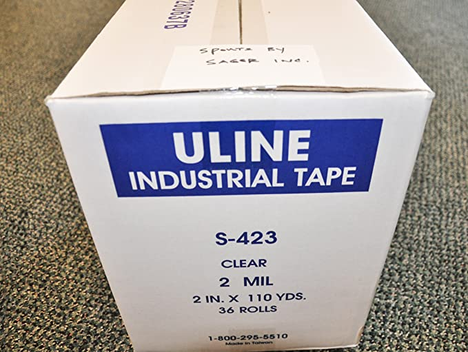 """S-423 Uline Industrial Shipping Tape 2/"""" x 110yds 1 New Roll w//Fast Free Ship"""