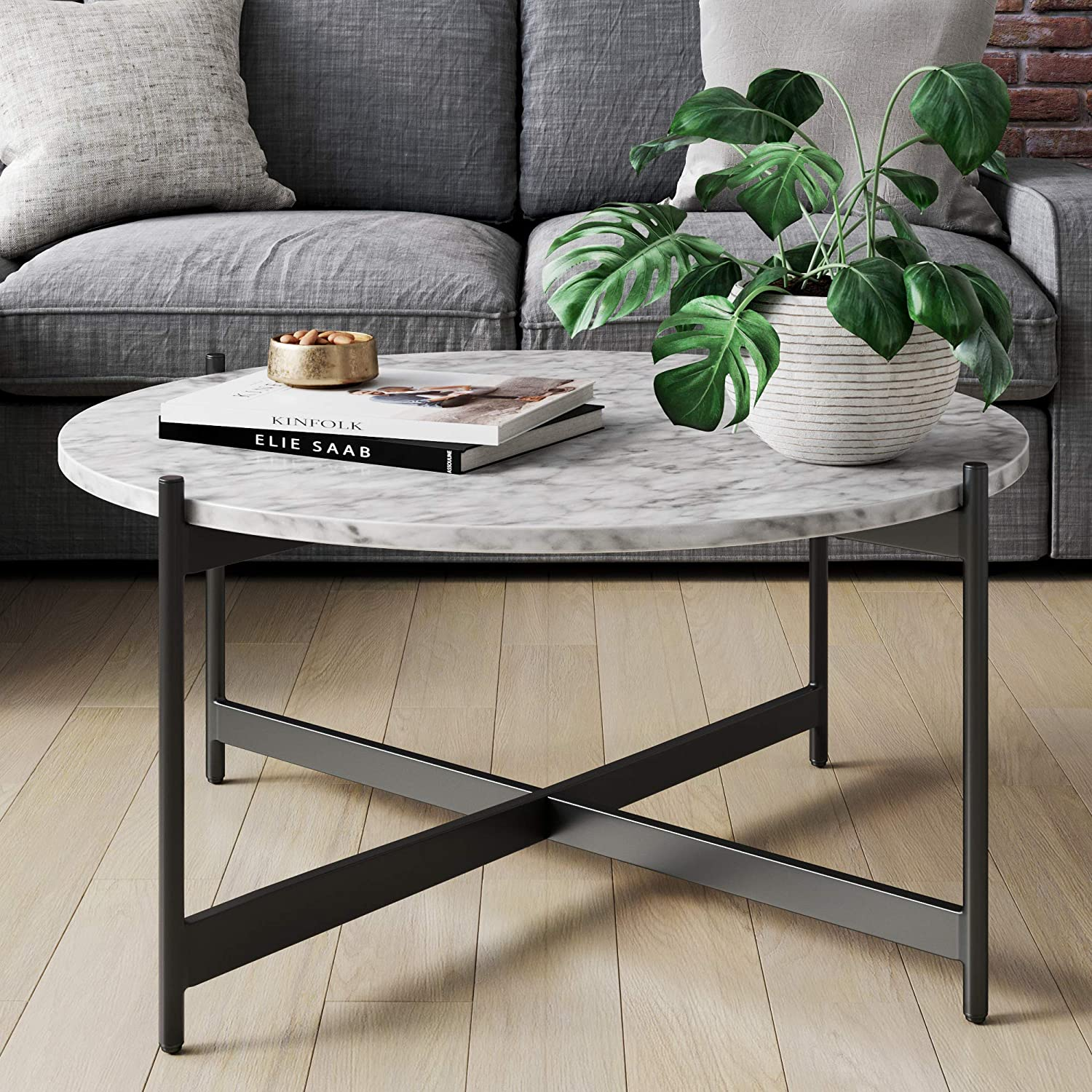 Amazon Com Nathan James Piper Faux Marble Round Modern Living Room Coffee Table With Metal Frame Black Furniture Decor