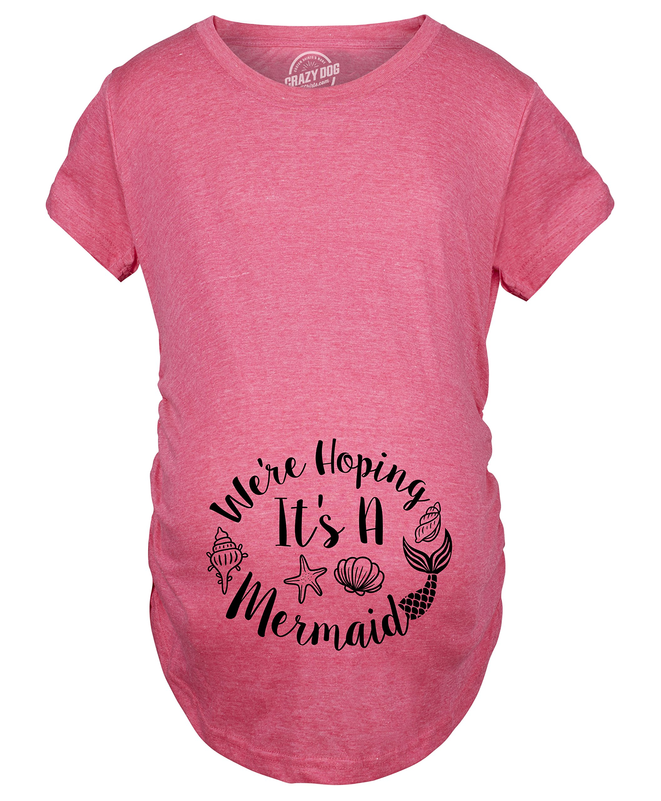 Maternity We're Hoping It's A Mermaid Pregnancy Tshirt Funny Baby Bump Tee -L