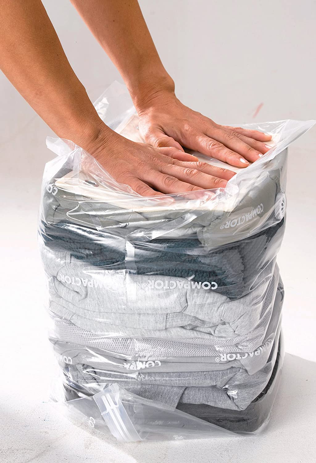 Clear Compactor Compact Express Space Saving Vacuum Storage Bag for 9 Jumpers 30 x 20 x 50cm