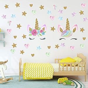 Unicorn Wall Decals,Unicorn Wall Sticker Decor with Heart Flower Birthday Christmas Gifts for Boys Girls Kids Bedroom Decor Nursery Room Home Decor (2 Pack Unicorn) (A-Unicorn)