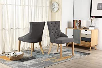 Etonnant WestWood Furniture Set Of 2 Premium Grey Linen Fabric Dining Chairs Scoop  Tufted Back With Solid