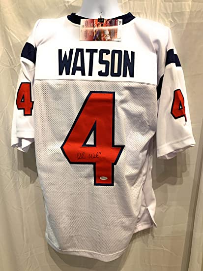 a159ba7aa Deshaun Watson Houston Texans Signed Autograph White Custom Jersey JSA  Witnessed Certified at Amazon's Sports Collectibles Store