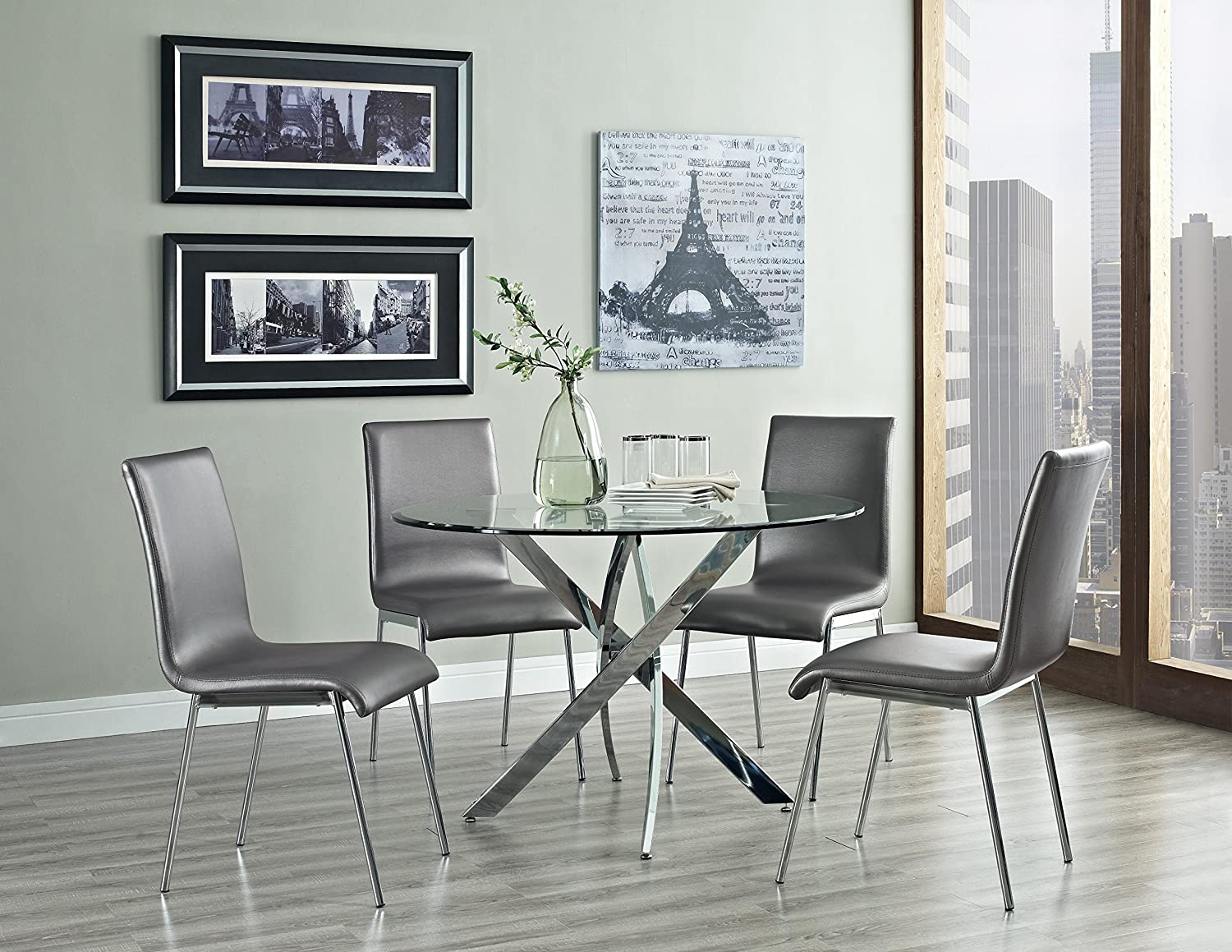 silver dining table and chairs.  Amazon com Powell Putnam Round Dining Table Tables