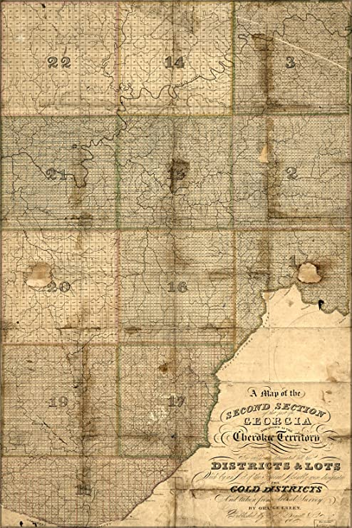 Map Of Georgia 1830.Amazon Com 20x30 Poster Map Of Cherokee Indian Territory In