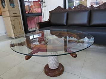 SAILORS SPECIAL Nautical 36u0026quot; Ship Wheel Table With Glass Top And ...