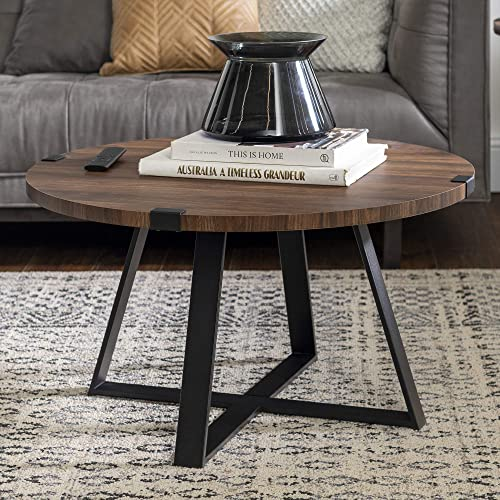 Walker Edison Furniture Rustic Farmhouse Round Metal Coffee Accent Table Living Room