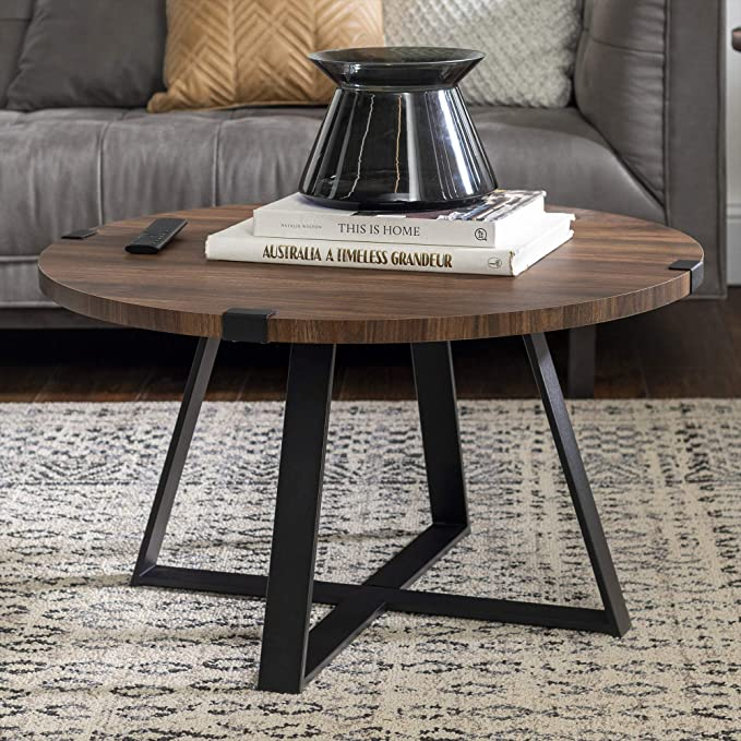 We Furniture Azf30mwctdw Rustic Farmhouse Round Metal Coffee Accent Table Living Room 30 Inch Walnut Brown Black Amazon Ca Home Kitchen