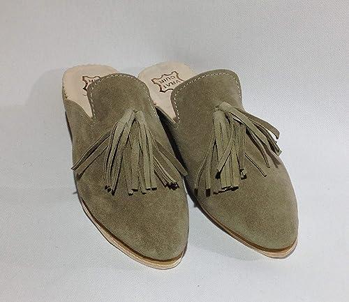 Amazon.com: Mule Slides, Suiede Women Slippers beige Backless Slip On  Loafers Tassels Pointed Toe Slipper Shoes Slip clogs 2 inch heel Handmade Womens  Mules clogs 7.5: Handmade