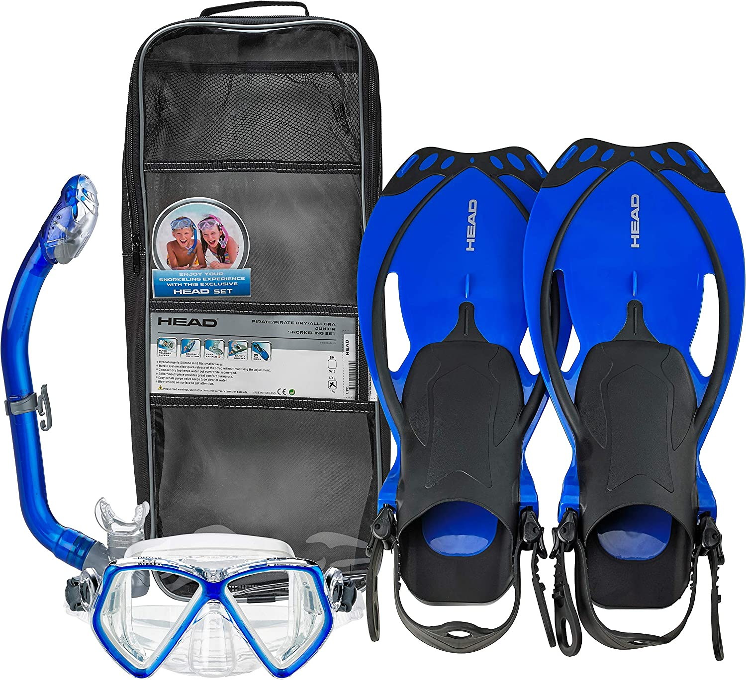 HEAD Pirate Junior Premium Youth Mask Fin Snorkel Set with Travel Bag