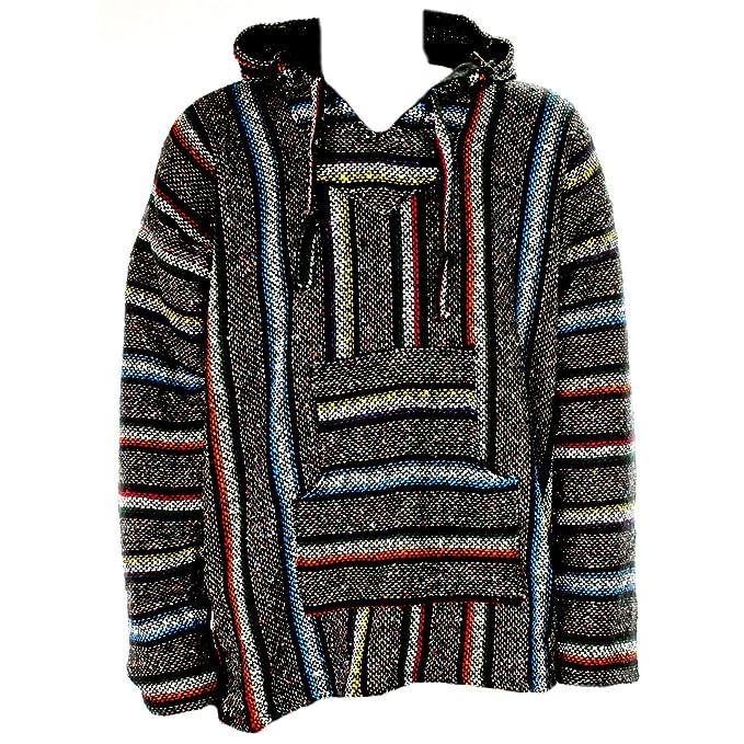 Sudadera con capucha estilo mexicano, diseño hippy, talla S a XXL, color gris y multicolor