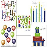 Birthday Cards Assortment - Box of 30 Blank Note Cards - 6 Colorful Designs - and 32 Envelopes