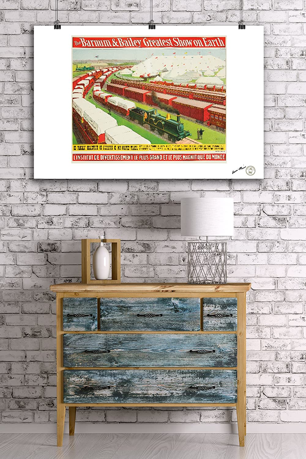 1902 24x36 Giclee Gallery Print, Wall Decor Travel Poster Un Tableau Realistique Vintage Poster USA c Barnum and Bailey