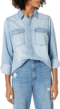 The Drop Women's Kathryn Long Sleeve Western Snap Front Denim Shirt