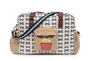 a48f366339 Amazon.com : Pink Lining Baby Diaper Bag, Yummy Mummy (Navy Bows) : Baby
