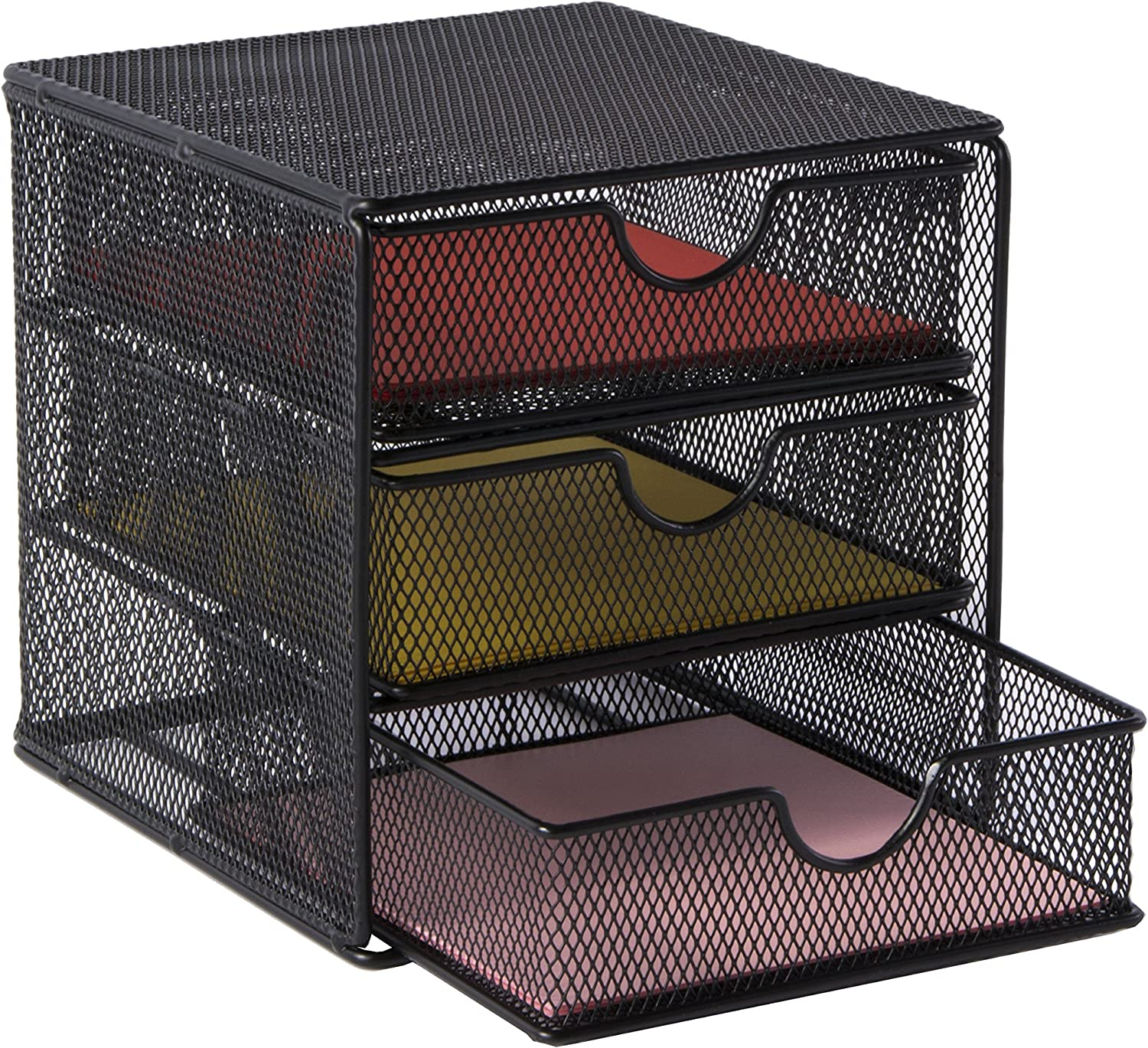 OSCO SM3DS-SLV Small Wire Mesh 3 Drawer Chest - Silver Black