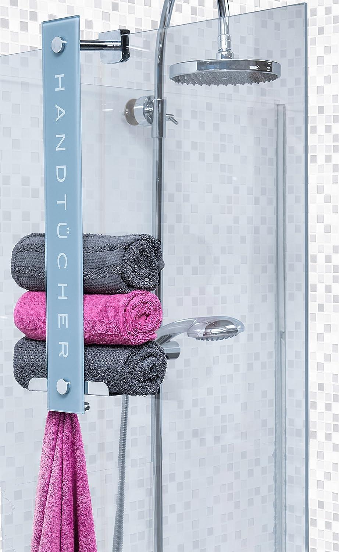 Duschmeister - Toallero DMHT08 - práctico diseño con capacidad de hasta 8 toallas - barra de cristal, ganchos y bandeja de acero inoxidable: Amazon.es: ...