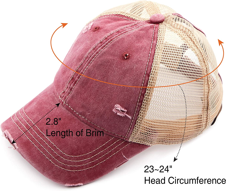 BT-15 BT-13 C.C Washed Distressed Cotton Denim Ponytail Hat Adjustable Baseball Cap BT-783 BT-14 BT-12 BT-18 BT-780