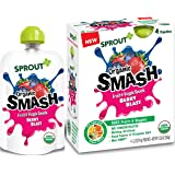Sprout Organic SMASH, Organic Fruit Snack Pouches, Fruit and Vegetable Puree, Berry Blast, 3.2 Ounce, 4 Count