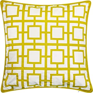 Edie At Home Modern Links Geometric Applique Indoor & Outdoor Decorative Pillow, 20x20, Citron