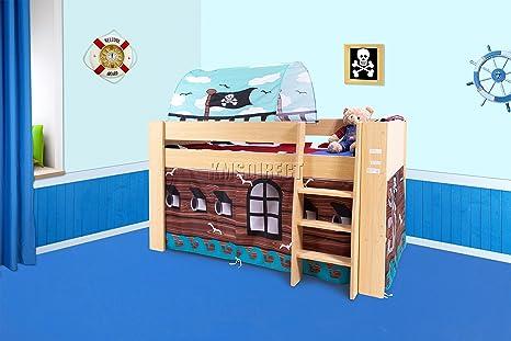 KMS FoxHunter – Juego infantil de madera, tablero DM Mid Sleeper cabina litera cama infantil