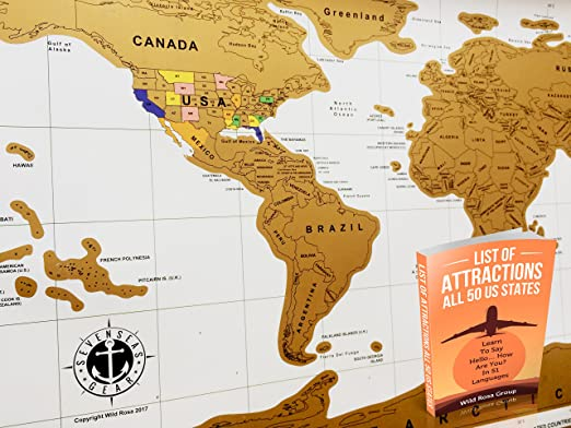 Amazon Com World Travel Tracker Map All Usa States Scratch Off Places You Visit For Everlasting Memories Bonus Scratching Tool And Travel Guide Ebook