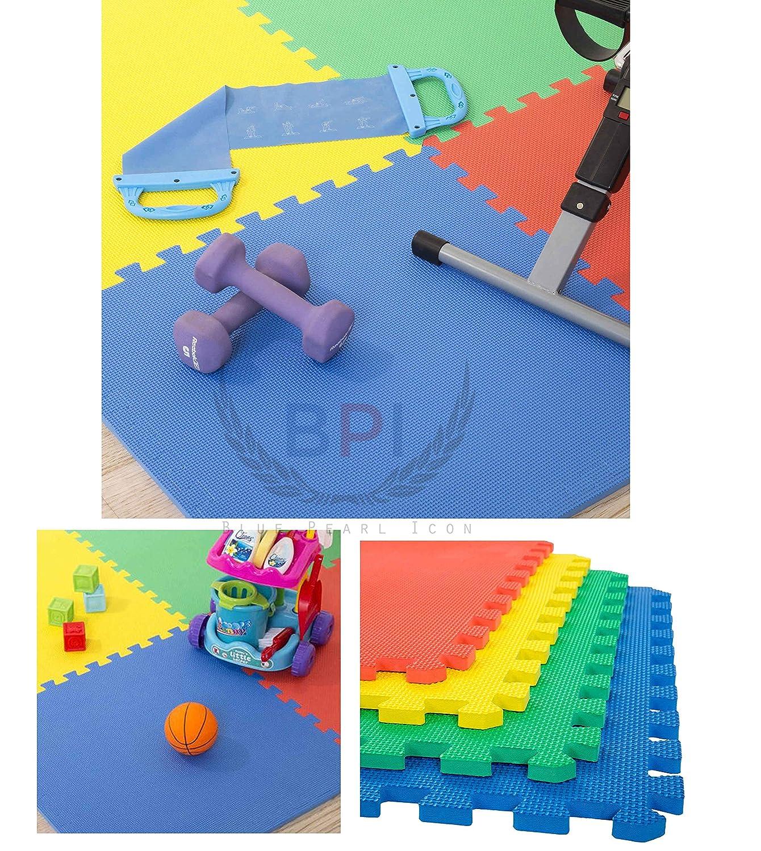 40 Piece Children/'s Floor Soft EVA Foam Tiles Play and Gym Mat Set Multi-Color 30x30 cm Each Tile