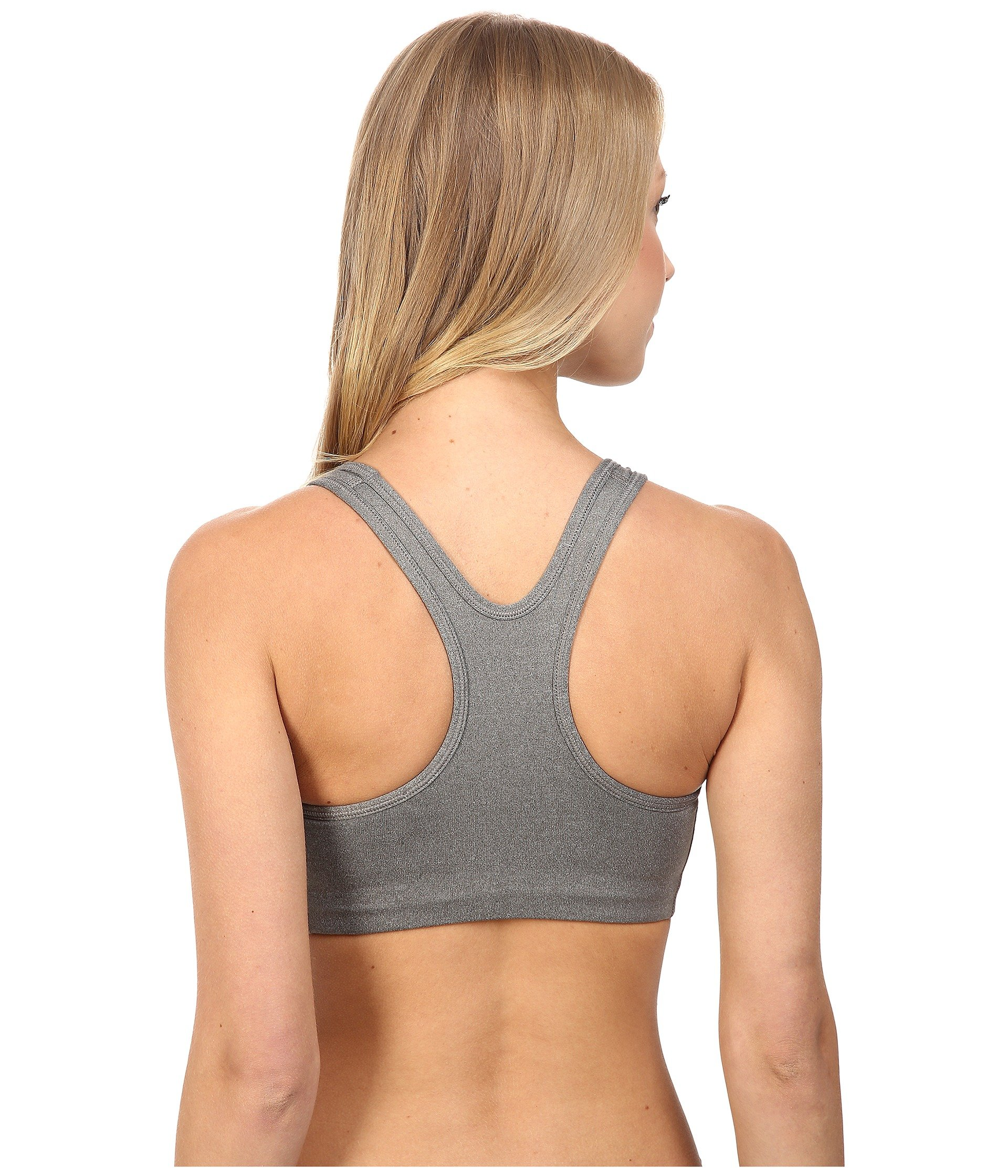 NIKE Women's Swoosh Sports Bra, Carbon Heather/Anthracite/Black, Small by Nike (Image #3)