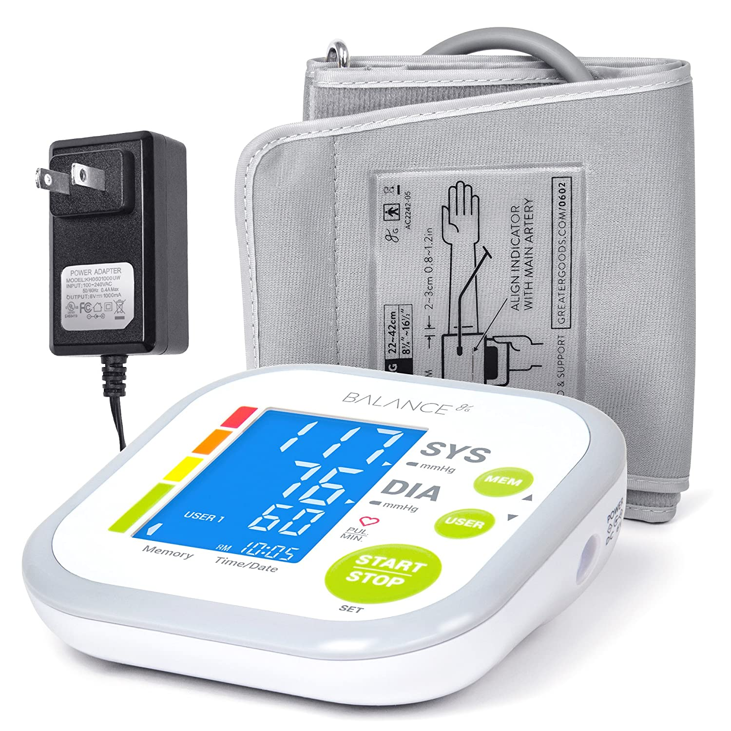 Greater Goods Blood Pressure Monitor Cuff Kit by Balance, Digital BP Meter with Large Display